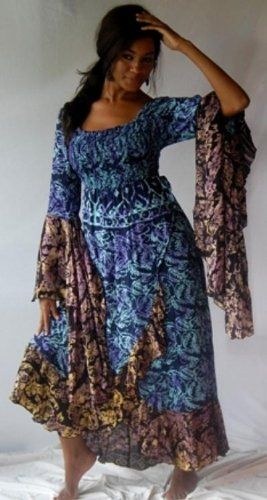 BLUE GOLD DRESS LONG RUFFLED WRAP MAXI BATIK Big beautiful real women with curves accept your body plus size body conscientiousness fashion