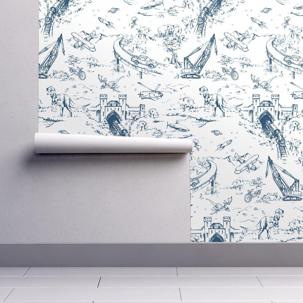 Adventure Toile Indigo Dinosaur Wallpaper Toile Wallpaper Spoonflower Wallpaper