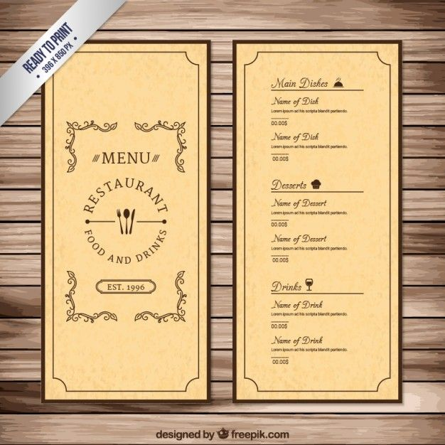 Vintage menu template Free Vector Atalia Pinterest Vintage - sample drink menu template