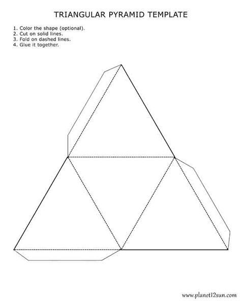 Printable, foldable 3D triangular pyramid template. Color it, cut it ...