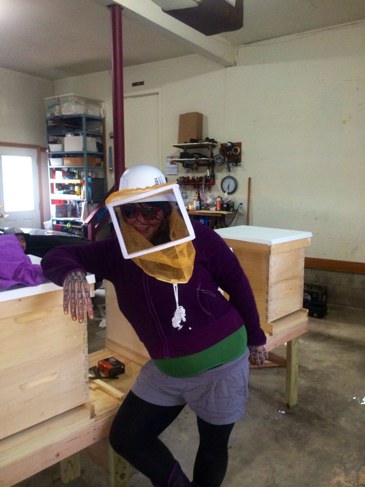 Me and a beekeeping hat by newly made hives