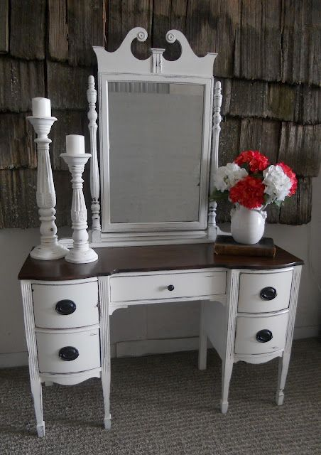 White Distressed Antique Vanity Desk Furniture Vanity Furniture Makeover Furniture