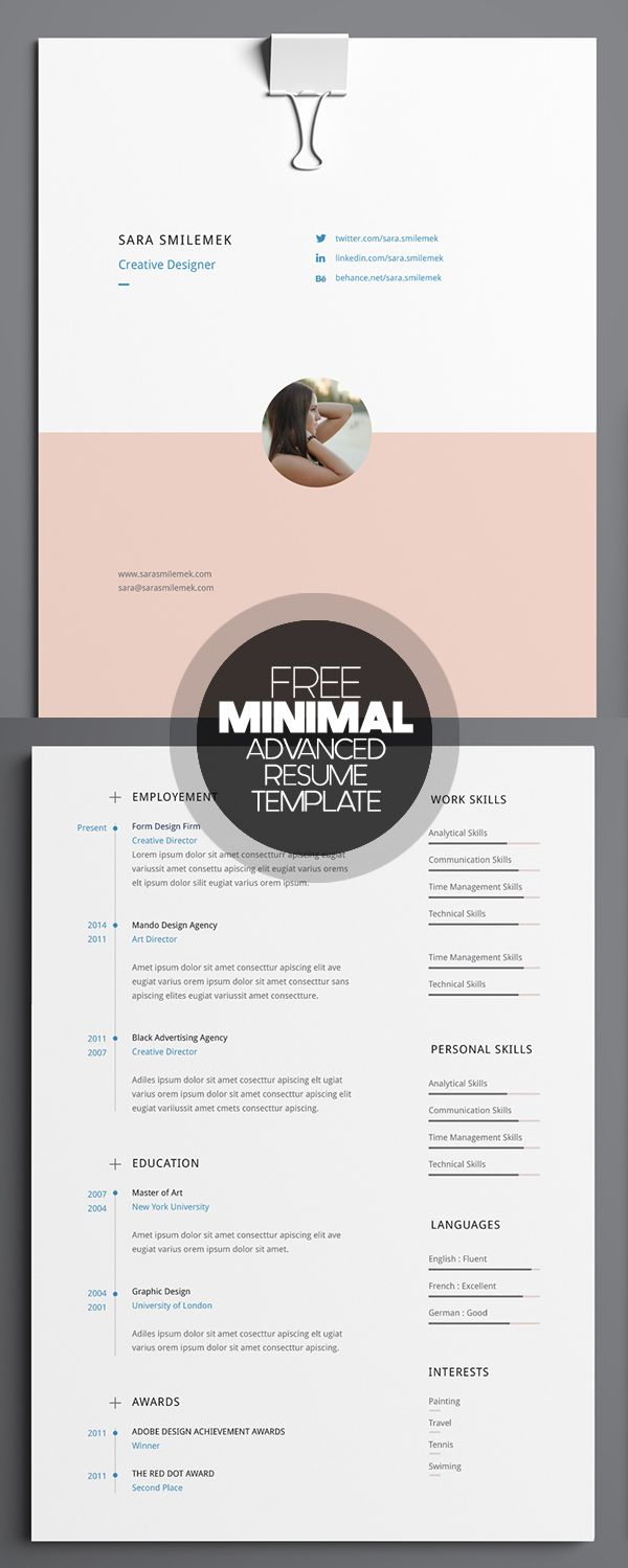 Free Minimal Advanced Resume Template   Pinteres