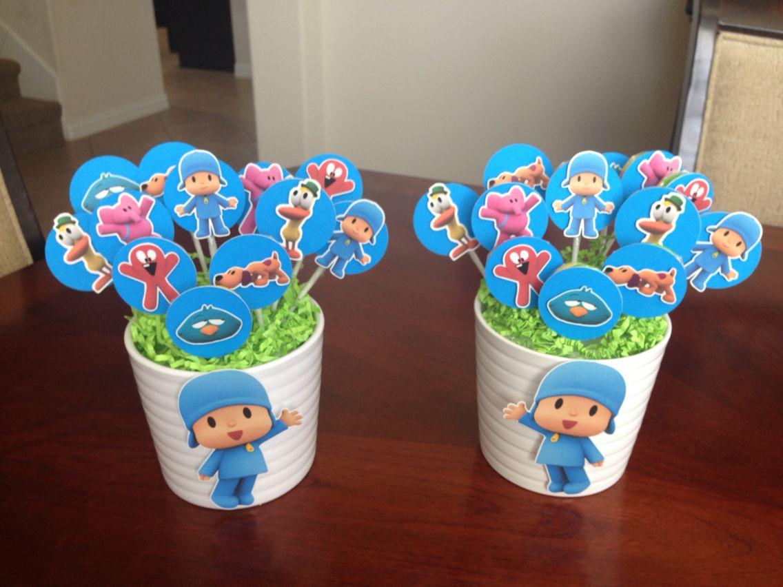 Pocoyo Lollipop Centerpiece For Birthday Party