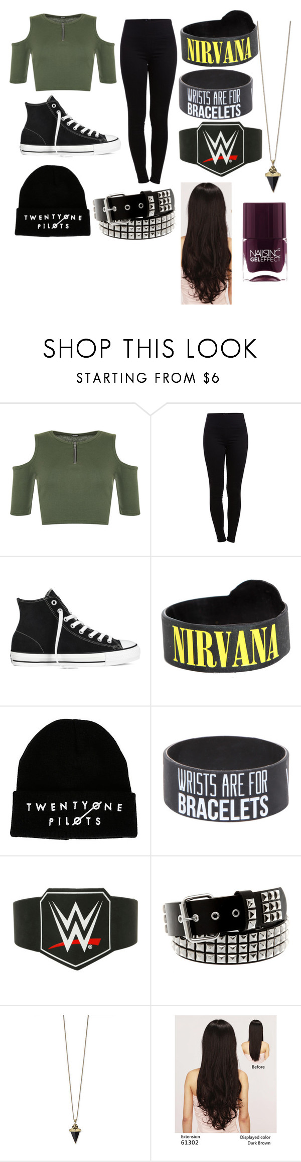 """Untitled #25"" by antidivajade ❤ liked on Polyvore featuring WearAll, Pieces, Converse, LeSalon and Nails Inc."