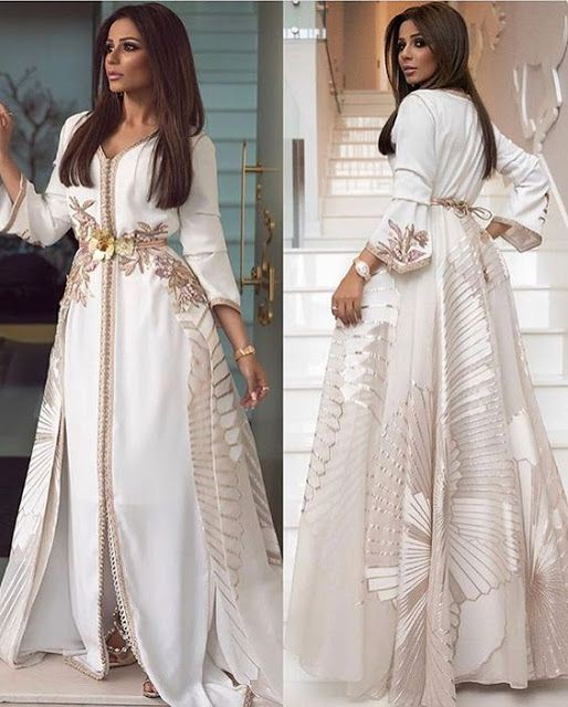 قفاطن و تكاشط مغربية بيضاء للعروس2019 Mon Projet Couture Moroccan Fashion Moroccan Dress Elegant Dresses