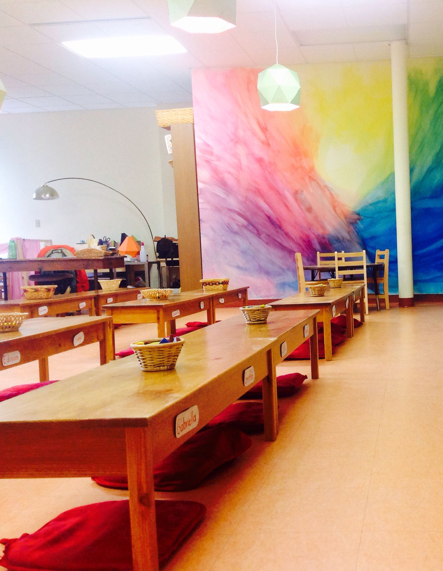 Circle of seasons charter school, msshermancos, classroom, moveable classroom, benches, Waldorf methods, mural
