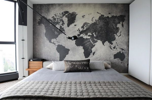 Pin by michaela mcallister on for the home pinterest map bedroom bedroom restrained industrial style bedroom design with world map pattern accent wall decor impressive industrial bedroom decor ideas gumiabroncs Image collections