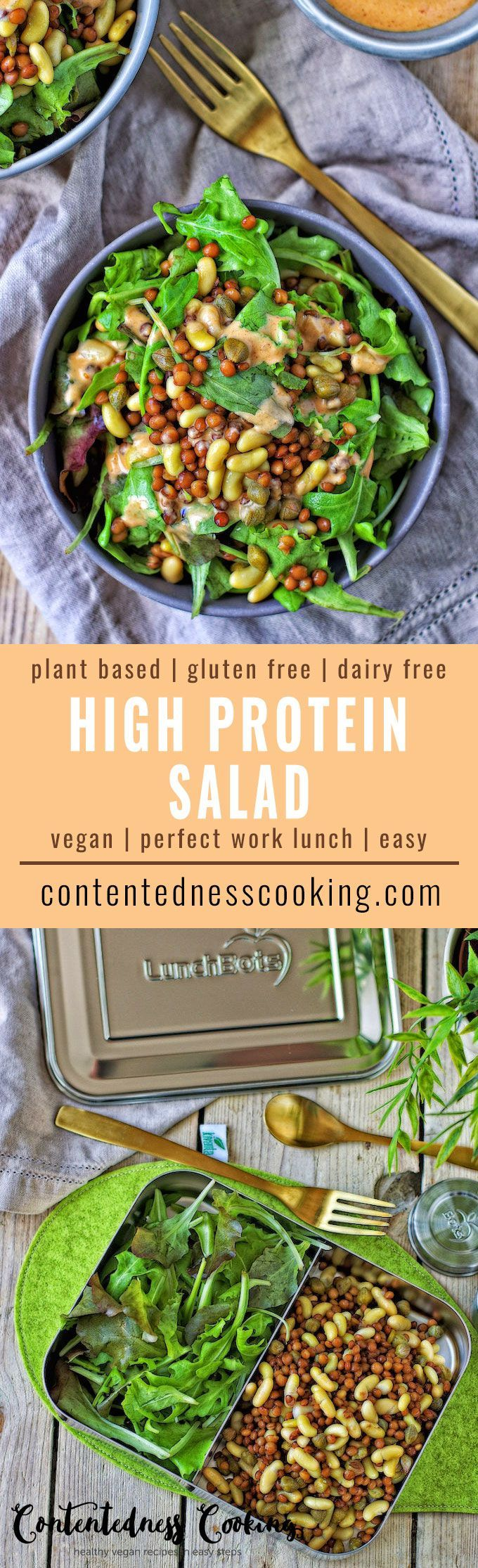 High Protein Salad Contentedness Cooking Recipe Protein Salad High Protein Salads Healthy Herbs