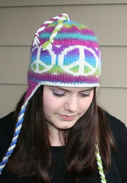Peace Out Earflap Hat pattern by Marinda Lariz | peace | Pinterest