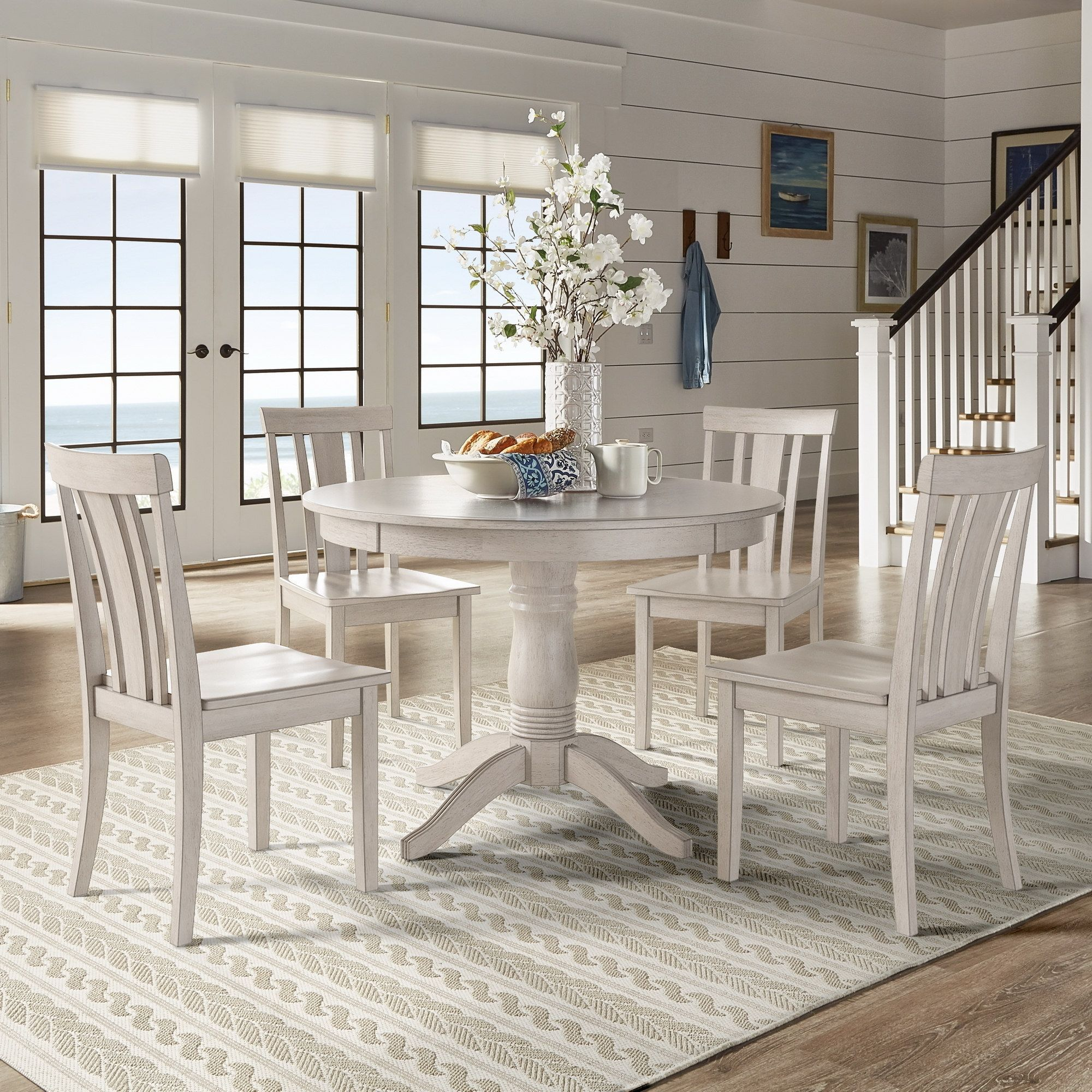 Wilmington II Round Pedestal Base Antique White 5 Piece Dining Set By  INSPIRE Q Classic (Mission Back Chairs), Beige Off White, Size 5 Piece Sets