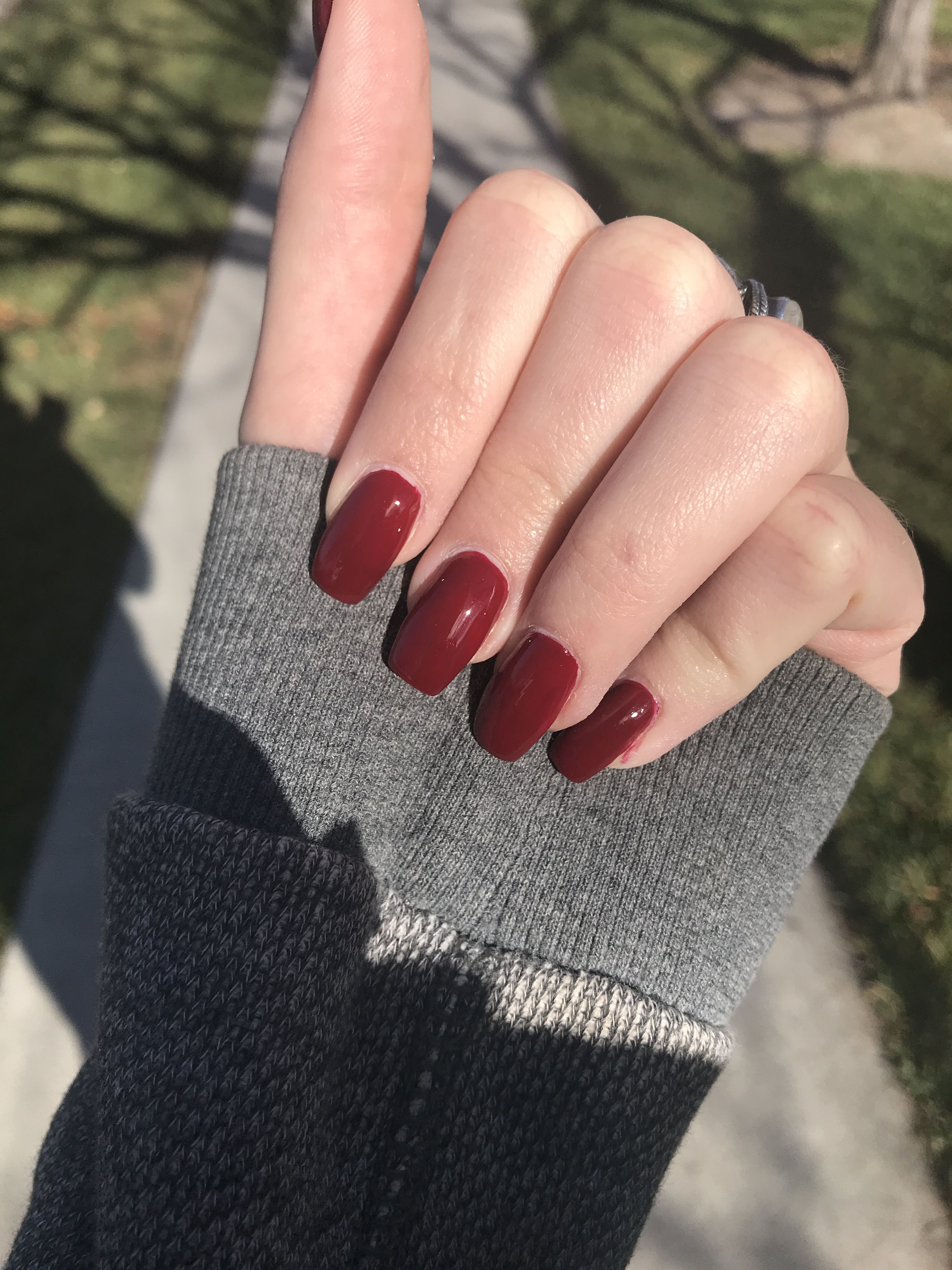 Deep Red Squoval Acrylic Nails Squoval Acrylic Nails Squoval Nails Deep Red Nails