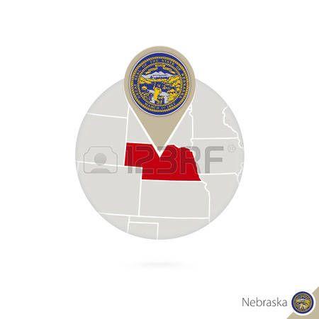 Mapa del estado de Oklahoma Estados Unidos y la bandera en círculo ...