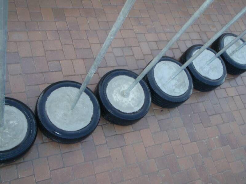 Tetherball Links Tire Concrete Base Portable Set