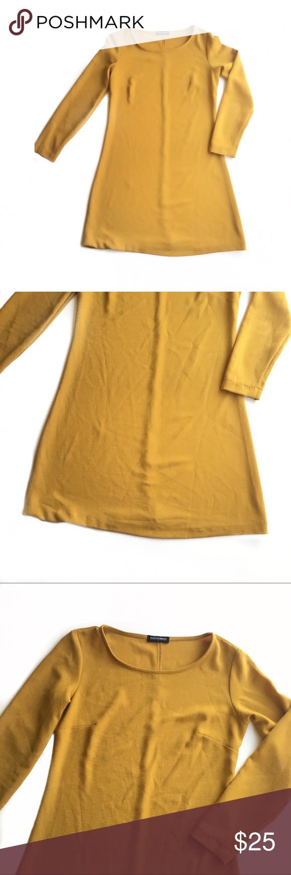 American apparel mustard yellow long sleeve dress yellow long