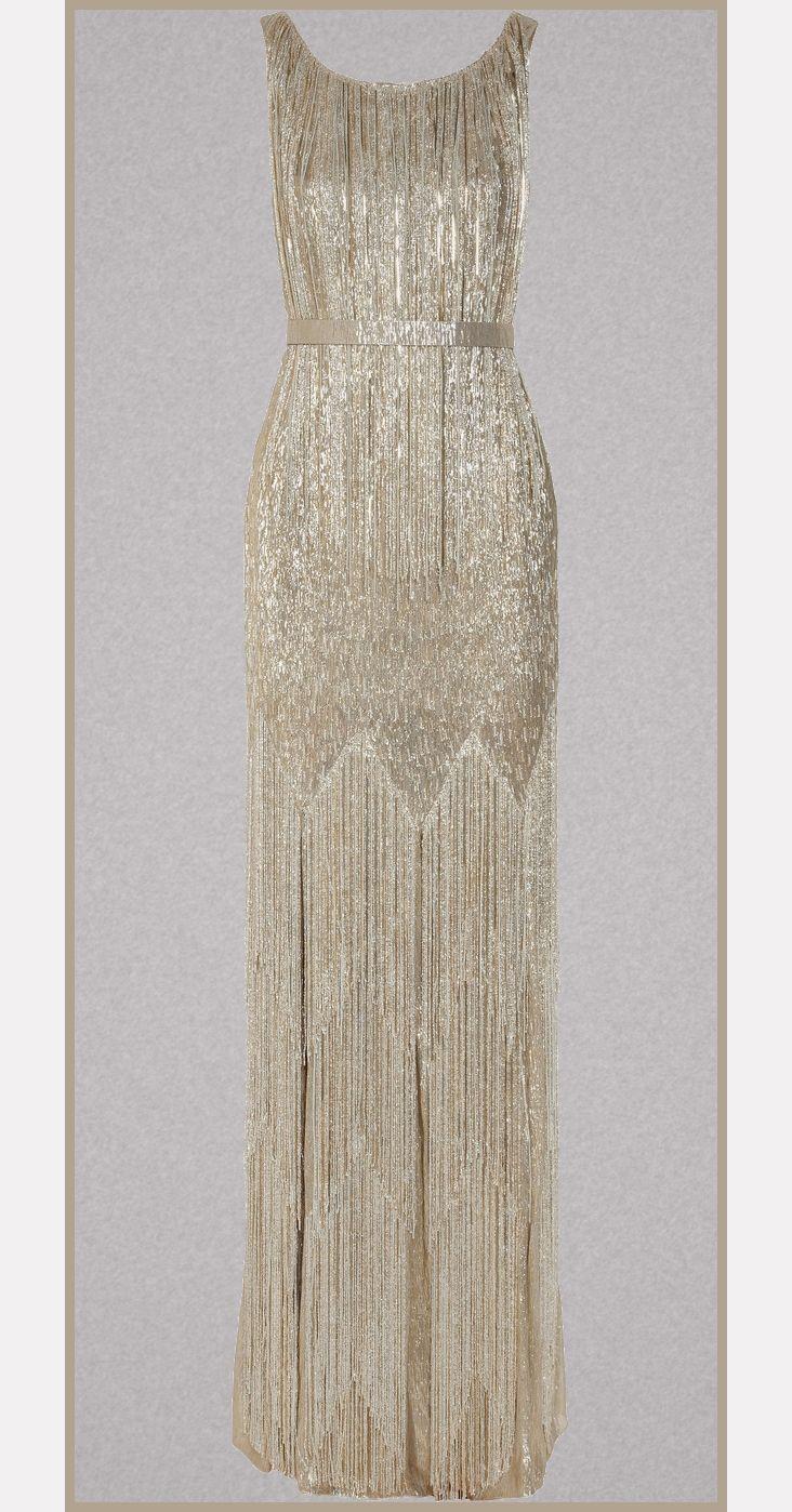 Oscar de la renta beaded metallic silkblend gown dressed to the