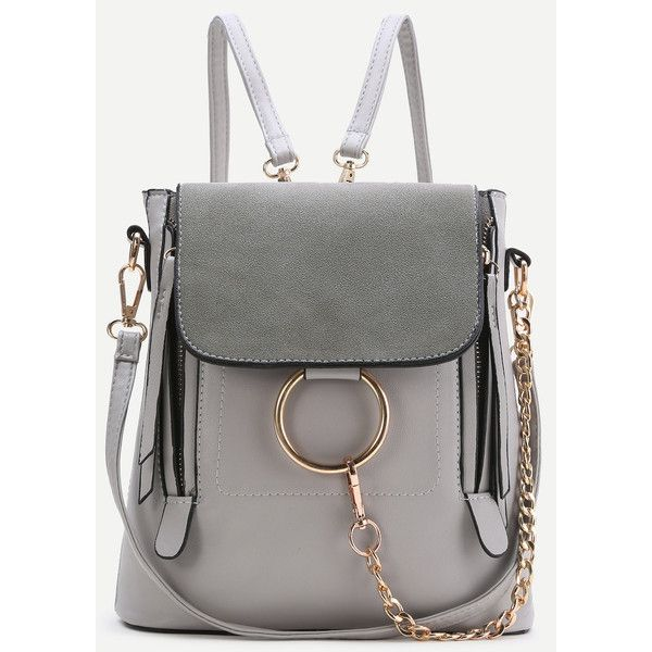 1a2599c7603 SheIn(sheinside) Grey Ring Design PU Backpack With Convertible Strap (63  BRL)