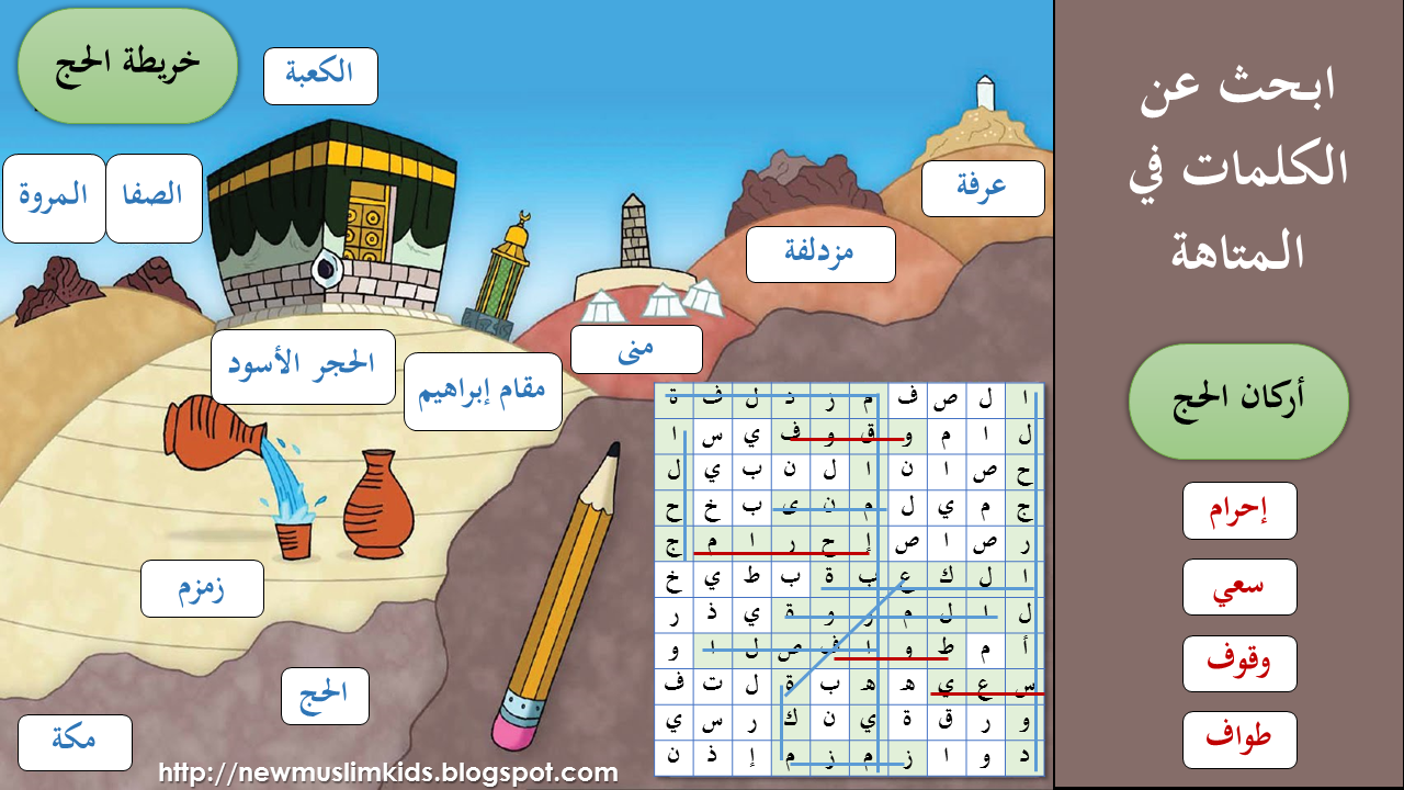 حل ورقة عمل خريطة وأركان الحج Islamic Kids Activities Eid Activities Islam For Kids