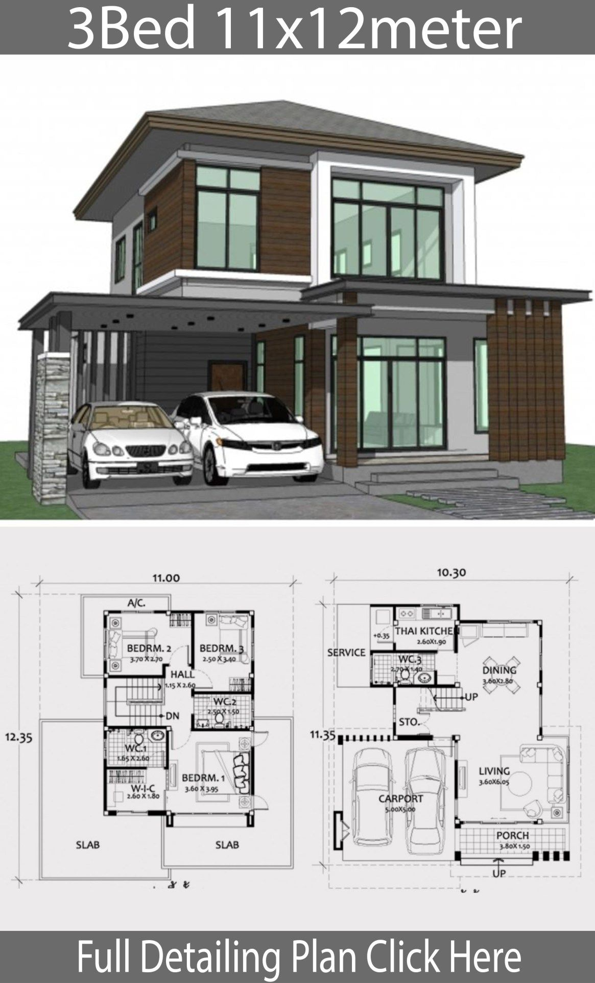 Home Design Plan 11x12m With 3 Bedrooms Home Design With Plansearch Modern House Design Two Story House Design House Designs Exterior