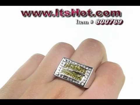 White Yellow Diamond Ring - Mens Jewelry - http://videos.silverjewelry.be/rings/white-yellow-diamond-ring-mens-jewelry/