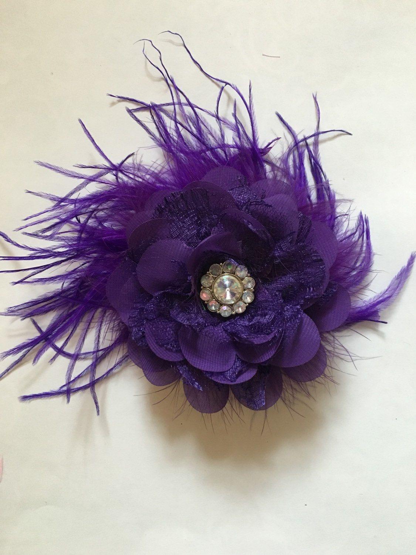 Bridal Hair Flower Clip Purple Eggplant Chiffon Lace Flower Hair
