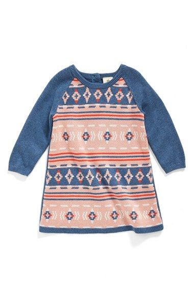 3398f727eb7f Free shipping and returns on Tucker + Tate Cotton Sweater Dress (Baby Girls)  at Nordstrom.com. Intarsia-knit geometric motifs give this A-line cotton  dress ...