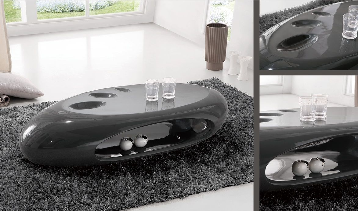 Strada Curved High Gloss Coffee Table In Dark Grey