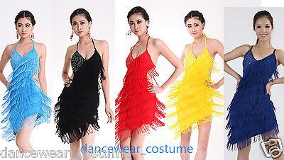 897bea856 Latin Tango Ballroom Salsa Dance Dress Fringes Tassel Skirt Latin Costume  5Color