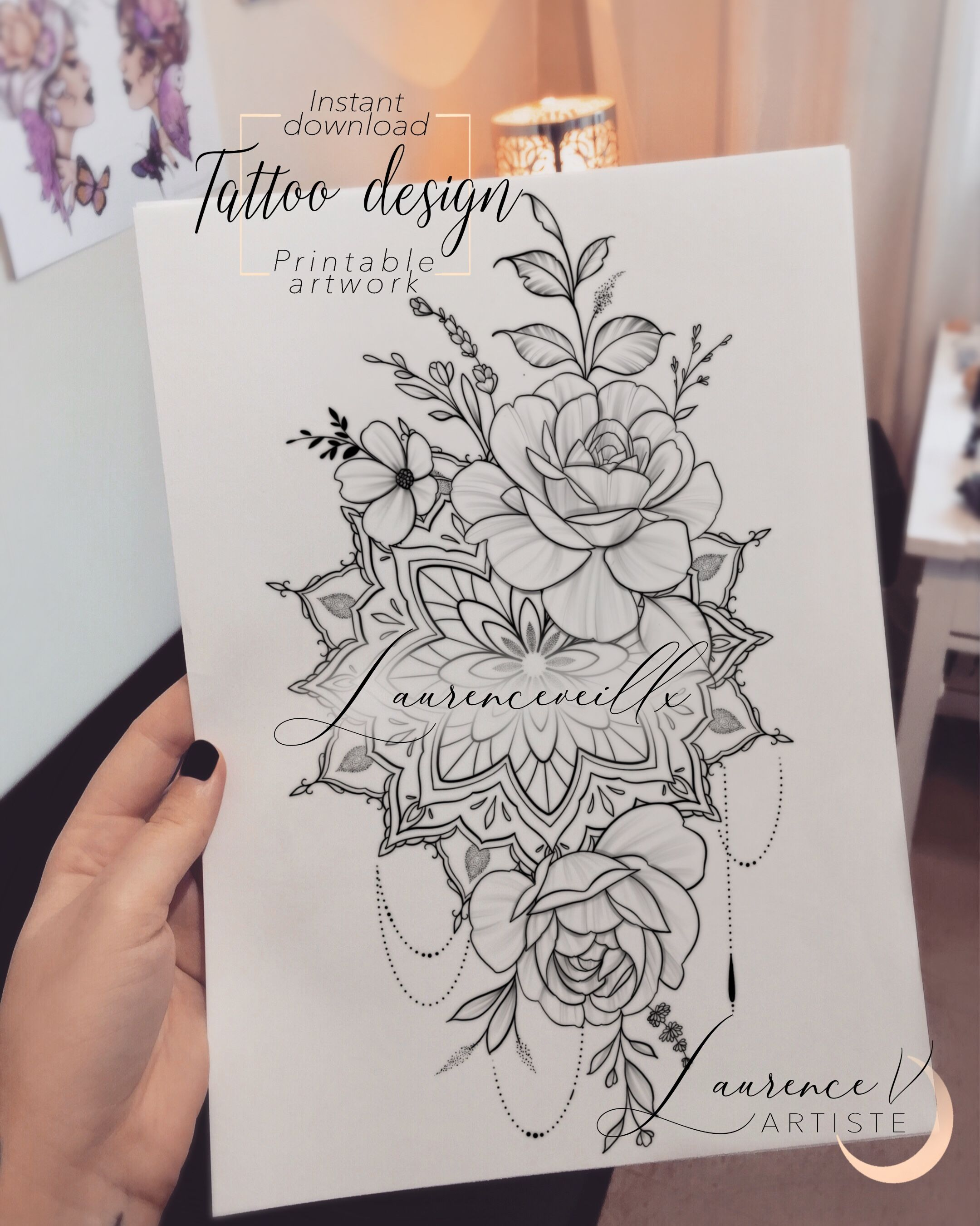 Mandala Flower Rose Tattoo Design Instant Download Laurenceveillx In 2020 Unique Half Sleeve Tattoos Floral Mandala Tattoo Mandala Tattoo Design