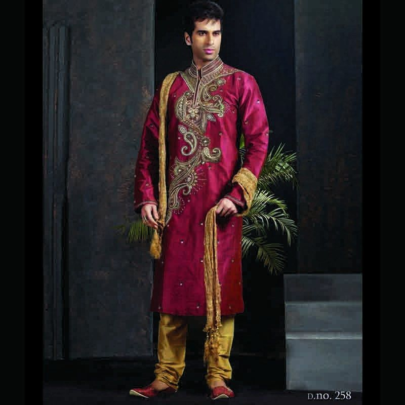Designer trendy indian wedding kurta with churidar groom for Wedding dress shirts for men