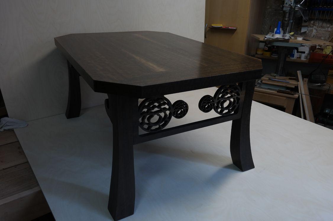 table basse dinspiration japonaise pivoine structure latt et chne massif placage - Table Japonaise Basse