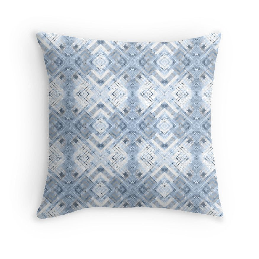 Blue geometric pattern on white background .