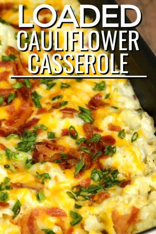 This Loaded Cauliflower Casserole recipe is has a layer of bacon and cheese goodness.  It's a decadent side dish that is sure to please everyone at the table.  #ITISAKEEPER #cauliflower #casserole #easyrecipe #bacon #loadedcauliflowerbake