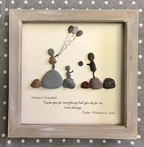 Photo of Pebble Art, Pebble Family Picture, Unique gift for family, Wedding Gift, Anniversary Gift, Beach Home Decor, Pebble Art Portrait, OOAK 23cm