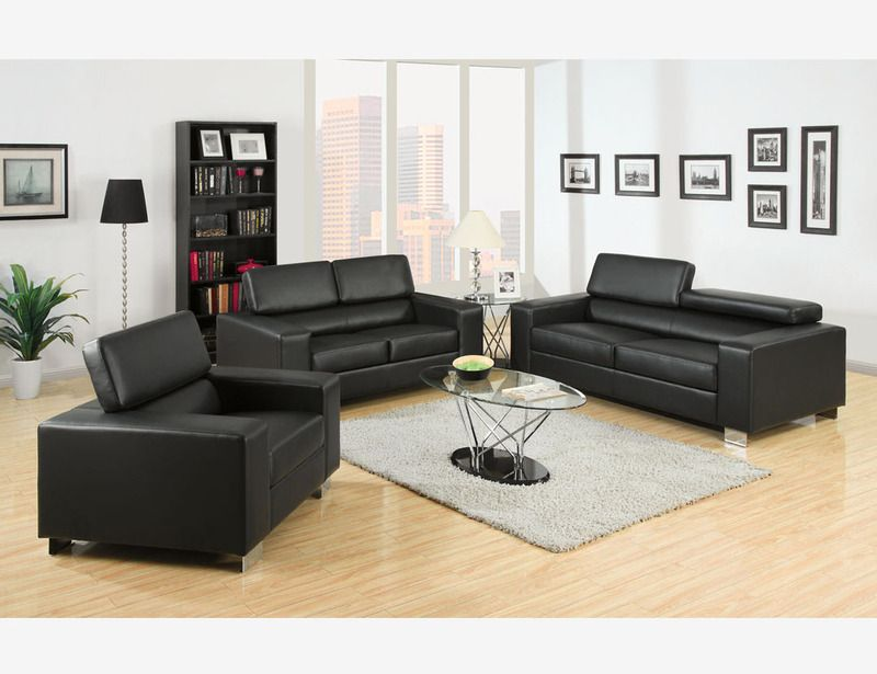Black Leather Sofa Couch Loveseat Chair Living Room Adjust
