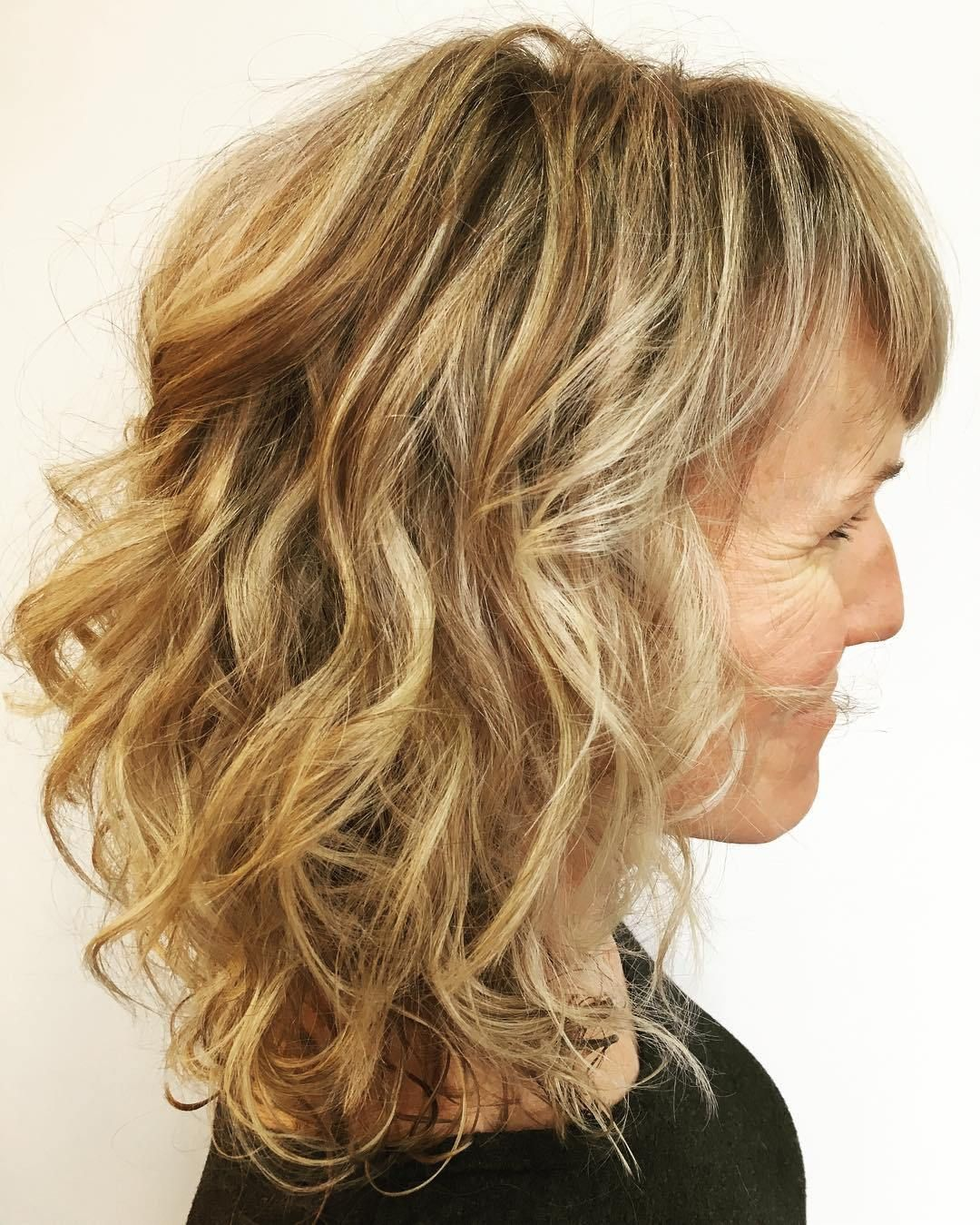 Over medium curly hairstyle with bangs hair dye ideas pinterest