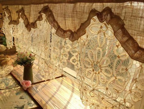 Tende Fai Da Te Shabby : Gorgeous! custom antique lace ruffled valance burlap window curtain