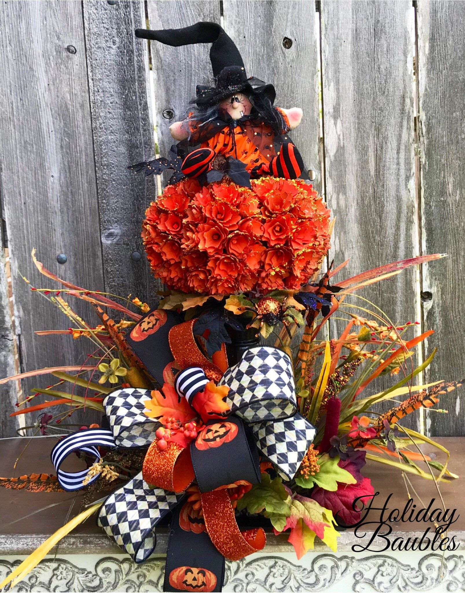 44c0ba39 Excited to share this item from my #etsy shop: Witch Arrangement, Halloween  Arrangement, Witch Centerpiece, Primitive Witch Centerpiece, Halloween Decor