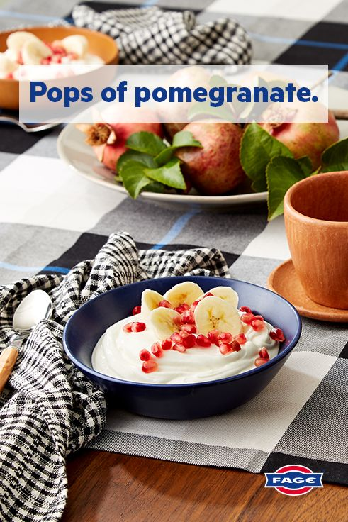 Fall in love with this mix-in: FAGE Total Greek yogurt topped with sweet pomegranate seeds and banana slices.