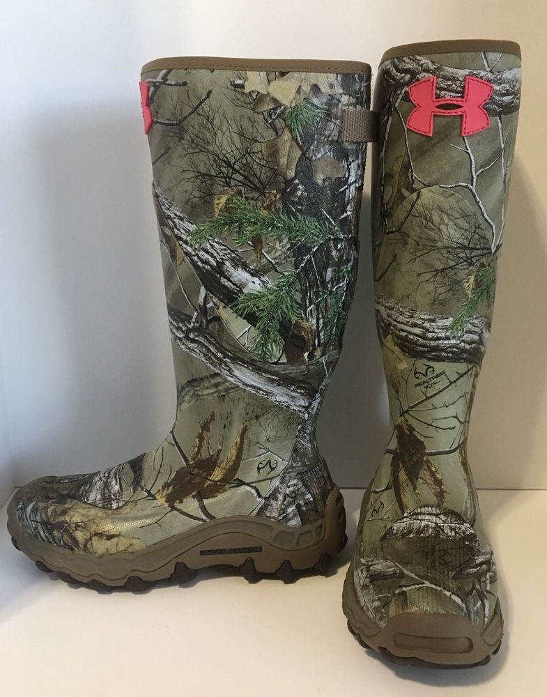 """ab9d59b8e6 New UNDER ARMOUR Camo Hunting Rain Mud Hawg 16"""" Rubber Boots Size 7 ..."""