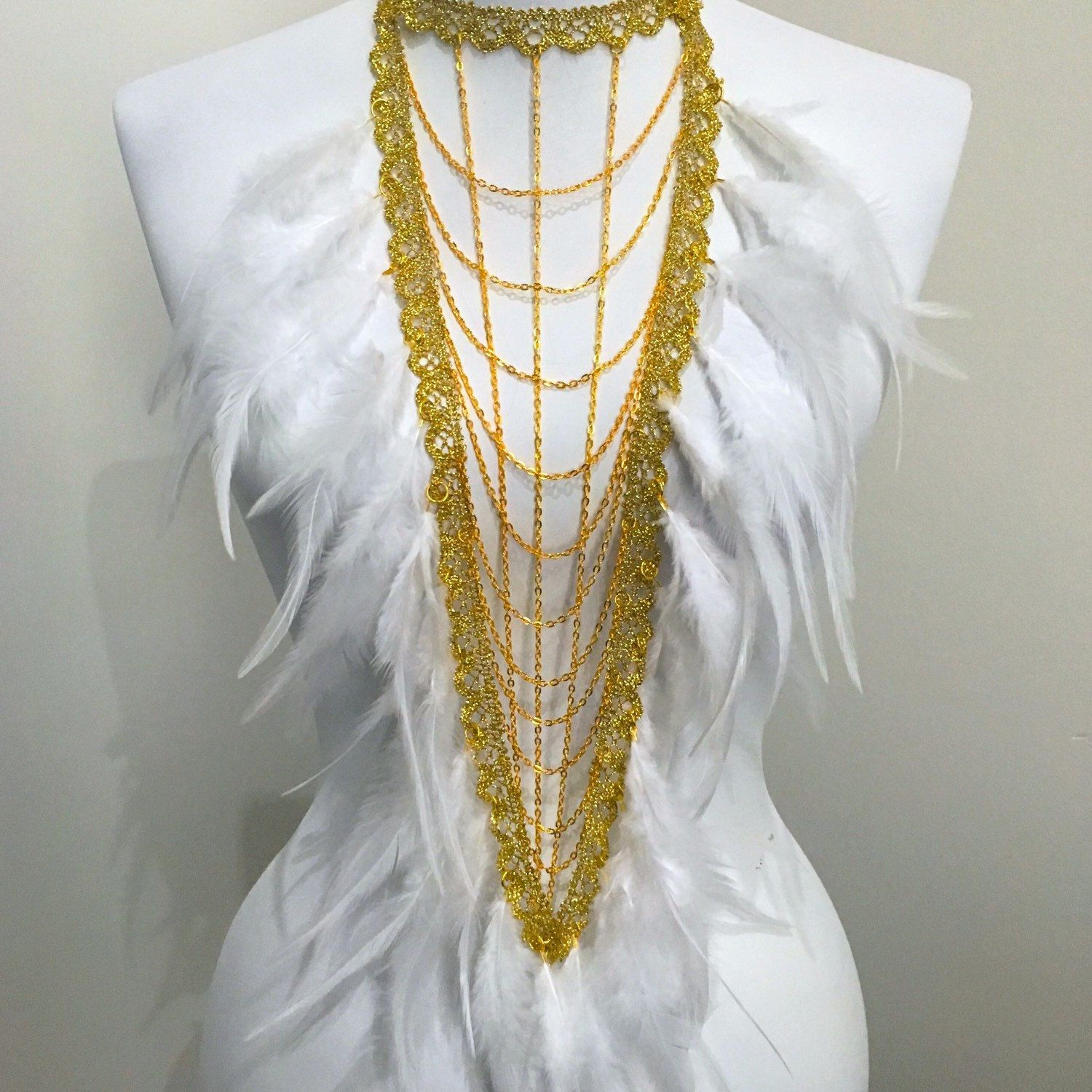 Breastplate bib statement necklace with lace chains u soft feathers