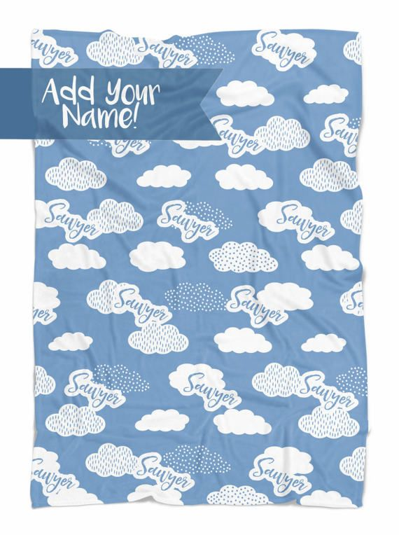 Personalized Baby Blanket With Clouds Baby Blanket Baby Blankets