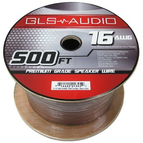 Gls Audio Premium 16 Gauge 500 Feet Speaker Wire True 16awg Speaker Cable 500ft Clear Jacket High Quality 500 Spool Roll 16g 12 2 Bulk By Gls A Speaker Wire