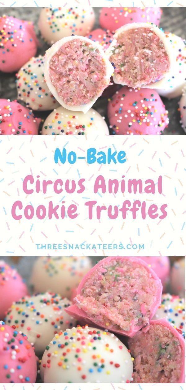 No-Bake Circus Animal Cookie Truffles #desserts