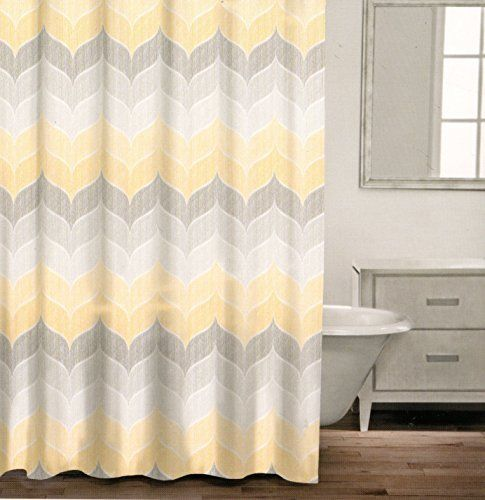 Caro Home 100% Cotton Shower Curtain Wide Stripes Chevron Fabric Shower  Curtain Zig Zag White