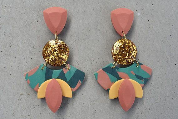 Resin pink glitter and polymer earrings