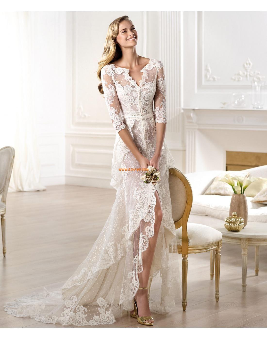 Glamourös & Dramatisch Halbe Sleeve Kappe Brautkleider 2014