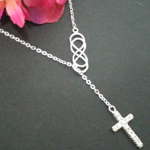 cross silver plated gold infinity necklace sterling personalized name