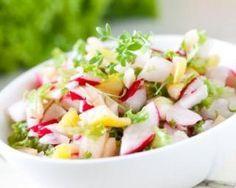Salade aux radis, pommes, maïs et comté : http://www.fourchette-et-bikini.fr/recettes/recettes-minceur/salade-aux-radis-pommes-mais-et-comte.html