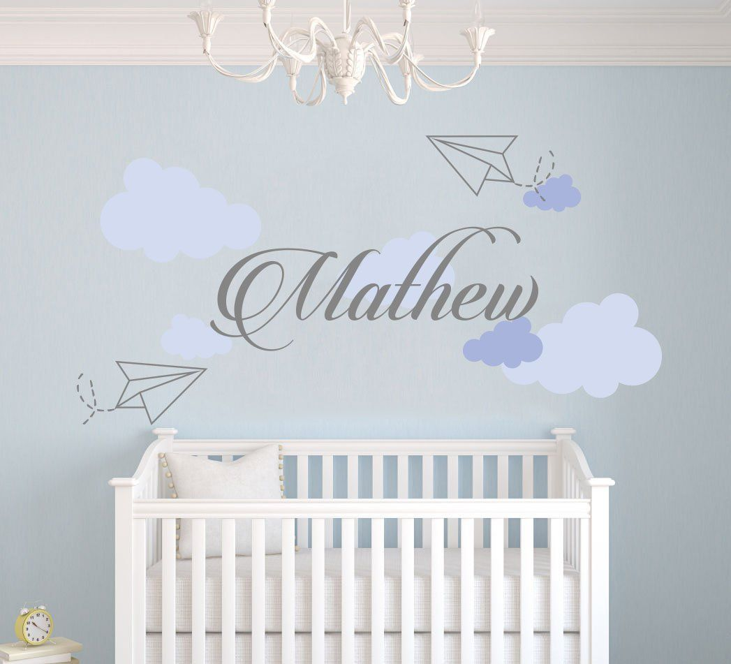 Home interior names personalized name sky paper planes and clouds nursery  baby boy